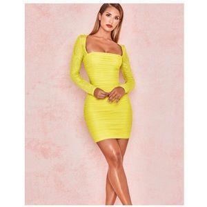 HOUSE OF CB | VALENTINA Ruched Organza Mesh Dress